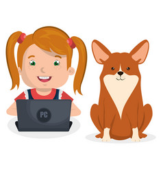Girl with dog and laptop computer character vector