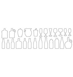 glass beverage and bottle outline icons set vector image