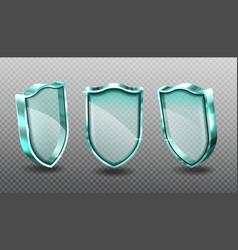 Glass shields set blank blue acrylic screen panels vector