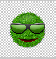 green grass field 3d face smile with sunglasses vector image