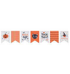 halloween bunting cute flags bunting vector image