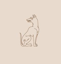 Hand drawn antique sitting dog creative tattoo vector