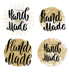 hand made set hand drawn lettering emblems vector image