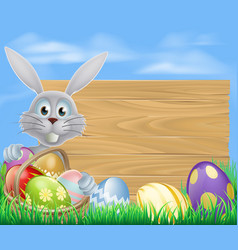 happy easter bunny and chocolate eggs sign vector image