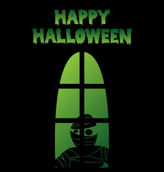 Happy halloween window silhouette mummy shadow vector