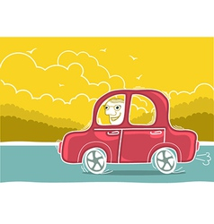 Happy man driving by car nature landscape vector