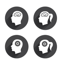 Head with brain icon Male and female human vector image