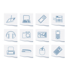 hi-tech technical equipment icons vector image