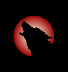 howling wolf head logo vector image