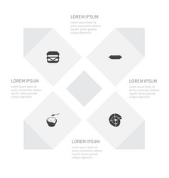 icon meal set of sousage burger rice and other vector image