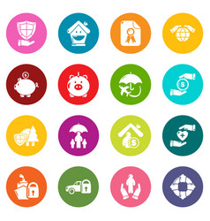insurance icons set colorful circles vector image