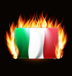 Italy flag on fire background country emblem vector