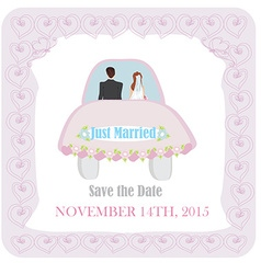 Just married - wedding car vector