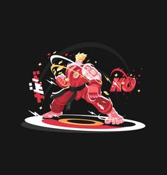 karate man in kimono vector image