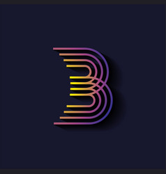 Letter b logo template parallel lines style vector