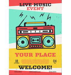 live music event flyer with retro record vector image