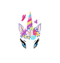 magic unicorn with colorful horn and manes icon vector image