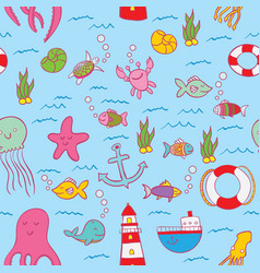 maritime seamless design pattern vector image