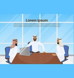 meeting arab business men group muslim vector image