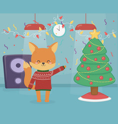merry christmas celebration fox wearing sweater vector image