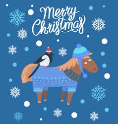 Merry christmas horse and bird vector