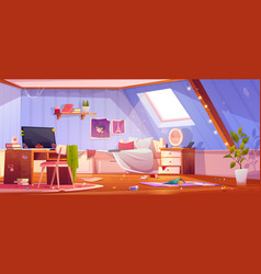 Messy girl bedroom interior on attic vector