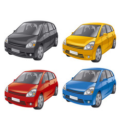 Mini hatchback cars vector
