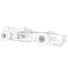 model formula 1 car wire-frame eps10 format vector image