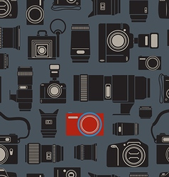 Modern and retro photo technics seamless vector image