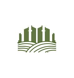 mono line city town landscape logo inspiration vector image