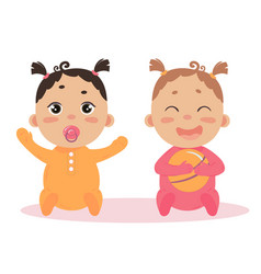 Newborn baby girl twins sitting together vector
