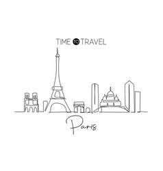 One continuous line drawing paris city skyline vector