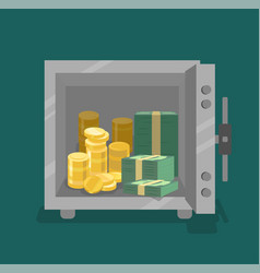 Opened safe with coins and cash in front view vector