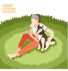 ordinary life and dog isometric background vector image