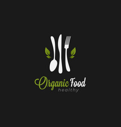 organic food logo spoon with fork and knife vector image