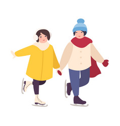 Pair of cute girls holding hands and ice skating vector