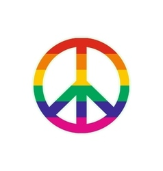 Peace symbol rainbow flat icon vector