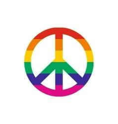 Peace symbol rainbow flat icon vector