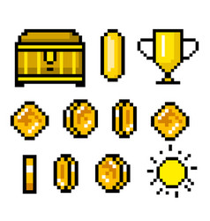 Pixel art 8 bit objects retro game assets set of vector