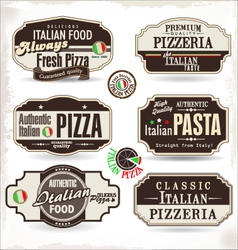 Pizza labels and badges vector image