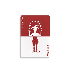 Playing card with joker in red and white design vector