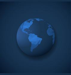 polygonal globe template on dark blue background vector image
