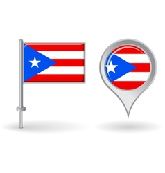 Puerto-Rican pin icon and map pointer flag vector