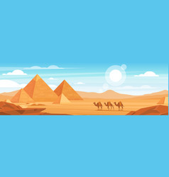 pyramids in desert flat panoramic vector image