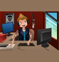 Radio dj working in a radio station vector