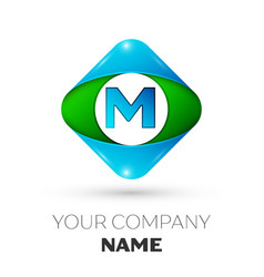 realistic letter m logo in colorful rhombus vector image