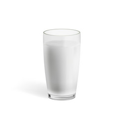 Realistic milk in a glass with shadow vector