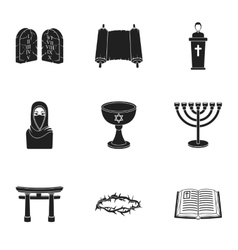 Religion set icons in black style Big collection vector