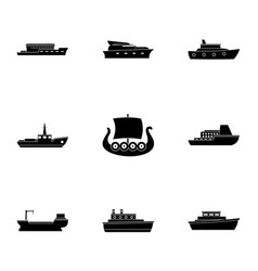 Seafaring icons set simple style vector