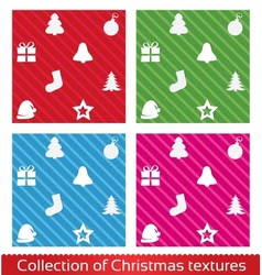 Seamless christmas texture pattern set vector image